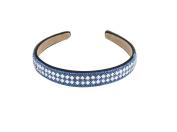 Yeshine Lady Rhinestone and Crystal Beaded Handmade Headband ,Hairband for Women,blue and White