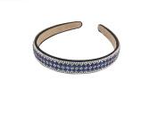 Yeshine Rhinestone and Crystal Beaded Handmade Headband ,Hairband for Lady,white and Blue