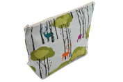 Dana Herbert Designer Travel Cosmetic Tolietries Bag, Size Large 15cm x 25cm Cotton with Plastic Liner, Handmade in USA, Woodland Pattern