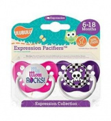 Ulubulu Pacifiers for Girls, My Mom Rocks and Purple Skull Checker, 6-18 Months