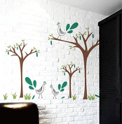 "Pop Decors ""Peacock/Apple Trees"" Beautiful Wall Stickers for Kids Rooms"