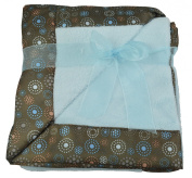 Little Beginnings Blue Soft Fleece Baby Blanket with Satin Brown Decoration