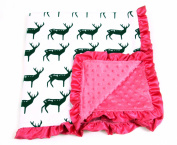 Baby Minky Receiving Blanket - 80cm x 80cm - Cotton Polyester - Hot Pink Deer