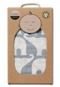 Milkbarn Organic Cotton Swaddle Blanket - Blue Elephant