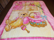 PINK TEDDY BEAR & BUNNY RABBIT IN BASKET KOREAN STYLE PLUSH MINK SOFT CHILD BABY BLANKET