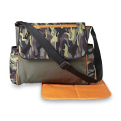 Camo Baby Messenger Nappy Bag with Portable Folding Changing Pad Newborn Accessory Storage Organiser Mom Tote Shower Gift Idea Adjustable Shoulder Strap, for Boys and Girls