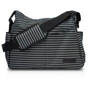 Nappy Bag by AeroBaby for Mom / Dad On-The-Go - Messenger Style Tote w/ Adjustable Crossbody Shoulder Strap, Changing Pad & Stroller Straps - Classic Black & Grey Stripes for a Boy or Girl