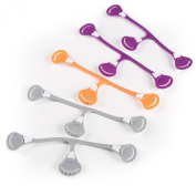 Snappi Cloth Nappy Fasteners - Pack of 5 (2 Purple, 2 Grey, 1 Orange) Girl Colours