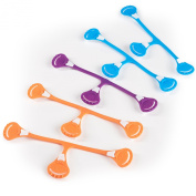 Snappi Cloth Nappy Fasteners - Pack of 5 (2 Orange, 2 Blue, 1 Purple) Bright Colours