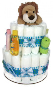 Sunshine Gift Baskets - Blue Nappy Cake Gift Set with a Lion