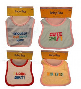 Baby Embroidery Bib Asst colours, Case of 24