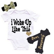 G & G - Cute Baby Girls 3pc I Woke Up Like This Newborn Outfits