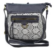 Women's / Girls Cross Body Bag Lace Design on Canvas Material Messenger Handbag