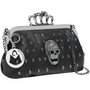 MG Collection® ASURA Gunmetal Gothic Skull Knuckle Duster Clutch / Evening Purse