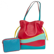 Leather Drawstring Wave Colorblock Handbag