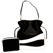 Leather Drawstring Wave Colorblock Handbag