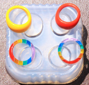 Multi-Clear-silicone Ring Moulds 4 ps ring. size 7, 8.