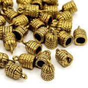 Packet of 10 x Antique Gold Tibetan 8 x 15mm Kumihimo Patterned End Caps - (HA12220) - Charming Beads