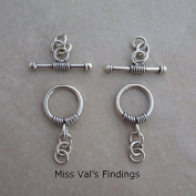 2 Sterling Silver Bali Toggle Clasps 10mm Wire Wrapped Decorative Ends