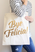 Bye Felicia Gold Tote Bag in Natural Colour