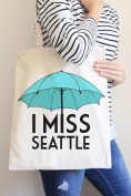 I Miss Seattle Blue Tote Bag in Natural Colour