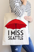 I Miss Seattle Red Tote Bag in Natural Colour