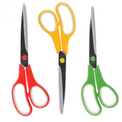 Scissors XL 24cm Precision Cut - 3 Pack of Shears - Red, Yellow, Green (Coding)- Sharp Edge Stainless Steel Blades - Multi Purpose