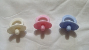 Small Baby Doll Pacifiers, Lot of 3, Assorted Colours , Pretend Play