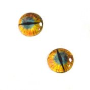 8mm Dragon Glass Eyes in Gold and Teal Iris Crafting Supply Flatback Cabochons for Art Doll Taxidermy or Jewellery Making