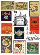 Assorted Vintage Ephemera Tea Label Images #1 on Collage Sheet for Photo Art, Scrapbooking, Collage, Decoupage
