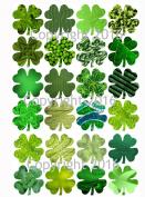 Saint Patrick's Day Shamrock Clover Collage Sheet for Scrapbooking, Altered Art, Photo Album