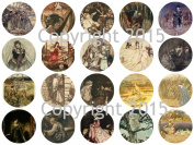 Assorted Vintage Nursery Fariy Tale Images by Arthur Rackham, B 4.4cm Circles Collage Sheet