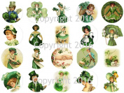 Vintage Victorian Saint Patrick's Day 4.4cm Circles Collage Sheet