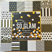 Oh So Glam 12x12 Gold Foiled Embossed Scrapbooking Paper Cardstock, Arrows, Greek Key, Elephants, Anchors, 60 sheets