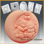 Nighty Night Teddy Bears- Detail of High Relief Sculpture - Silicone Soap/sugar/fondant/chocolate/marzipan 2d Mould