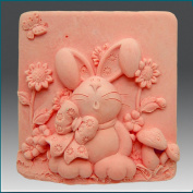 Bunny, Bow and Daisies - Detail of High Relief Sculpture - Silicone Soap/polymer/clay/cold Porcelain Mould