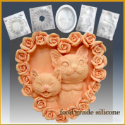 Kitty Kat Heart - Detail of High Relief Sculpture - Silicone Soap/polymer/clay/cold Porcelain Mould
