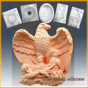 Majestic Eagle with Chicks - Detail of High Relief Sculpture - Silicone Soap/sugar/fondant/chocolate/marzipan 2d Mould