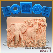 Enchanting Elephants - Detail of High Relief Sculpture - Silicone Soap/sugar/fondant/chocolate/marzipan 2d Mould