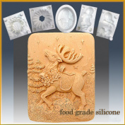 Prancer the Reindeer - Detail of High Relief Sculpture - Silicone Soap/sugar/fondant/chocolate/marzipan 2d Mould