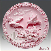 Birds in Scarlet Pimpernel Garden - Detail of High Relief Sculpture - Silicone Soap/polymer/clay/cold Porcelain Mould