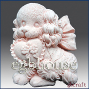 Fluffy Puppy with Heart Shape Pillow - Detail of High Relief Sculpture - Silicone Soap/polymer/clay/cold Porcelain Mould