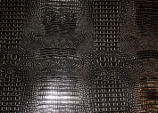 Black Silver Glossy 2 Tone Gator Heavy Duty PVC Vinyl Fabric Sold By The Yard