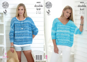 King Cole Ladies Double Knitting Pattern Womens Round or V Neck Baggy Sweaters Vogue DK