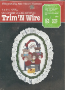 Vintage 1987 Santa and Teddy Friends Trim 'N Wire Oval Counted Cross Stitch Kit by Lois Thompson