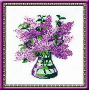 Riolis cross stitch kit 603 Bunch of Lilacs flowers STICKPACKUNG