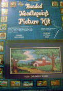 Walco Beaded Needlepoint Picture Kit Country Road 6 1/2 X 3 1/2