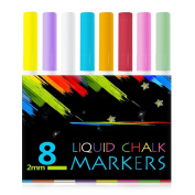 Atalanta® Colour Liquid Chalk Marker Pens-8 Packs Premium Quality Liquid Chalk Marker With 2mm Fine Tip ,Safe for Kids, Teachers ,Fall Designs, Stencil Use, Artist, Crafters,Writing and Drawing