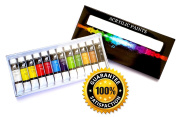 Acrylic Paint Set Premium Quality for Artists, Students or Beginners - for Painting Canvas, Wood, Clay, Fabric, Nail Art, Ceramic & Crafts - Set of 12 x 12ml Unique Colours - Rich Pigments