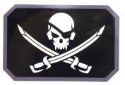 Pirate Skull Vinyl Flag Decal ( Black (